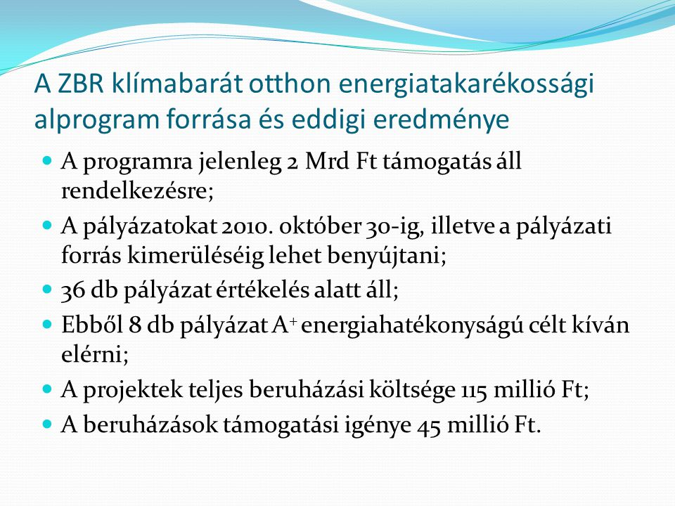 A ZBR klímabarát otthon energiatakarékossági alprogram forrása és eddigi eredménye