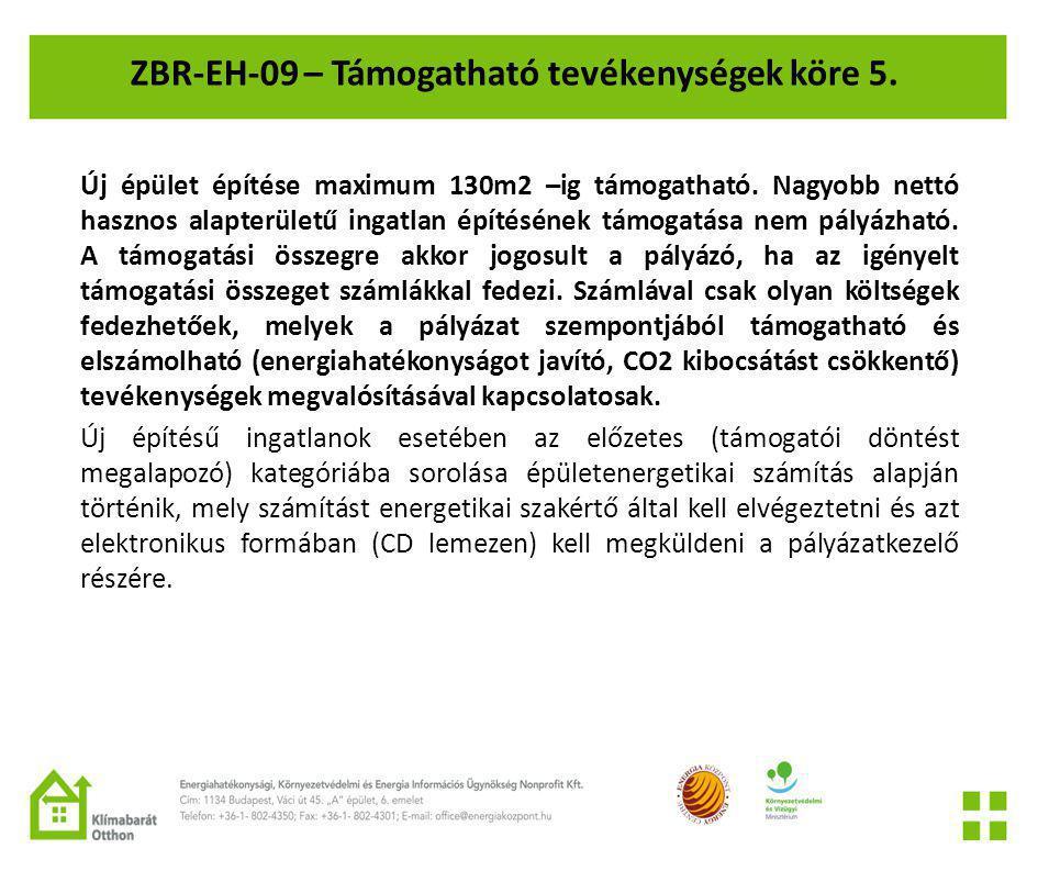ZBR-EH-09 – Támogatható tevékenységek köre 5.
