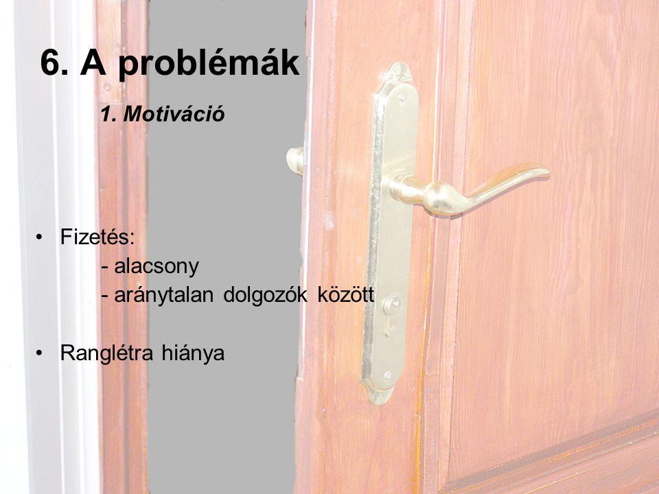 6. A problémák 1. Motiváció Fizetés: - alacsony