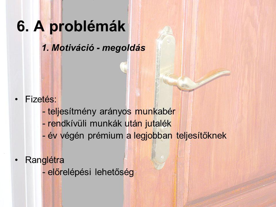 6. A problémák 1. Motiváció - megoldás Fizetés: