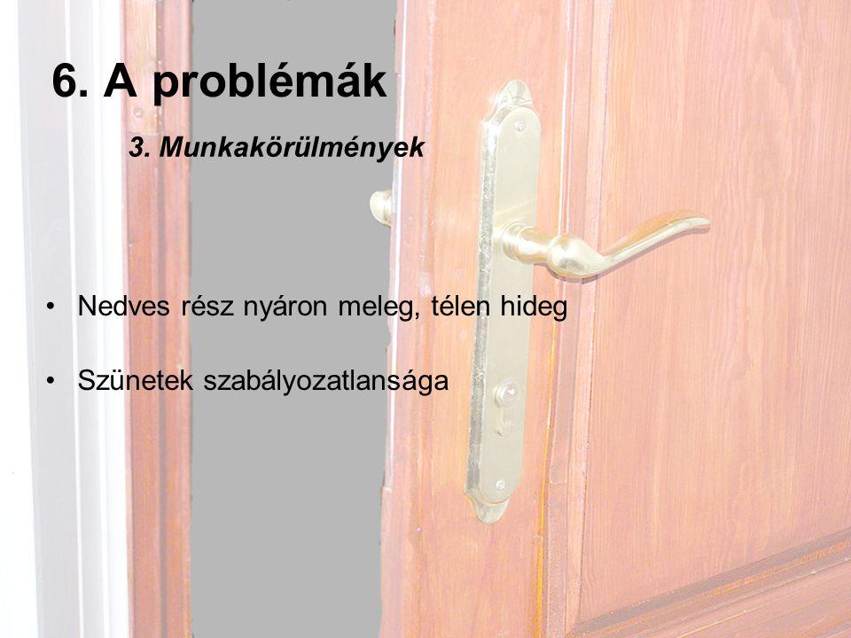 6. A problémák 3. Munkakörülmények