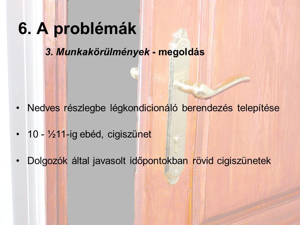 6. A problémák 3. Munkakörülmények - megoldás