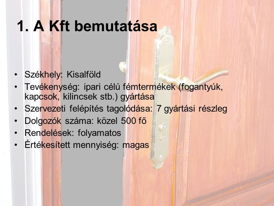 1. A Kft bemutatása Székhely: Kisalföld