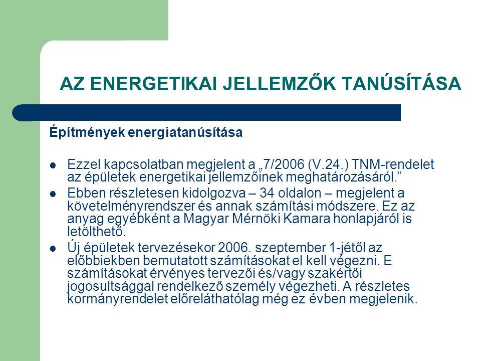 AZ ENERGETIKAI JELLEMZŐK TANÚSÍTÁSA