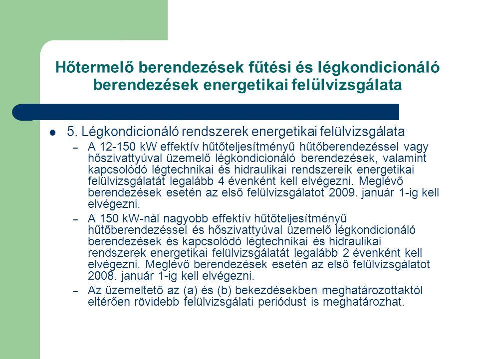 Hőtermelő berendezések fűtési és légkondicionáló berendezések energetikai felülvizsgálata