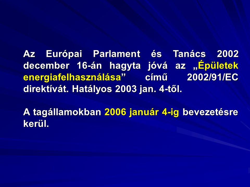 """Az Európai Parlament és Tanács 2002 december 16-án hagyta jóvá az """"Épületek energiafelhasználása című 2002/91/EC direktívát. Hatályos 2003 jan. 4-től."""