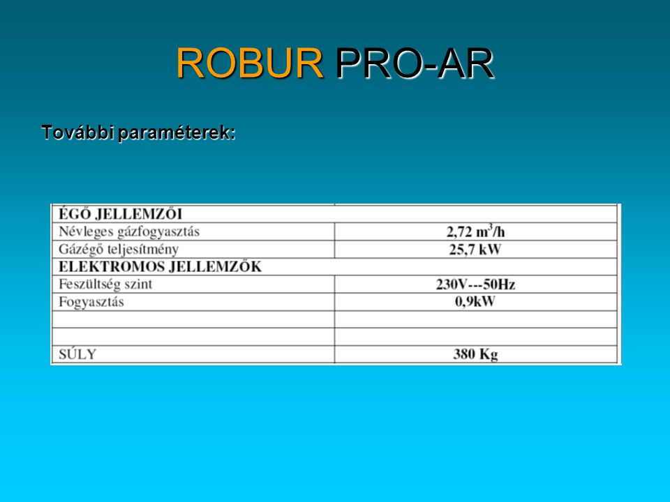 ROBUR PRO-AR További paraméterek: