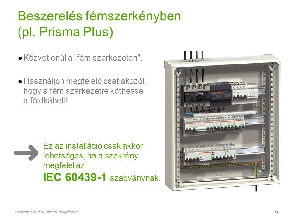 Beszerelés fémszerkényben (pl. Prisma Plus)
