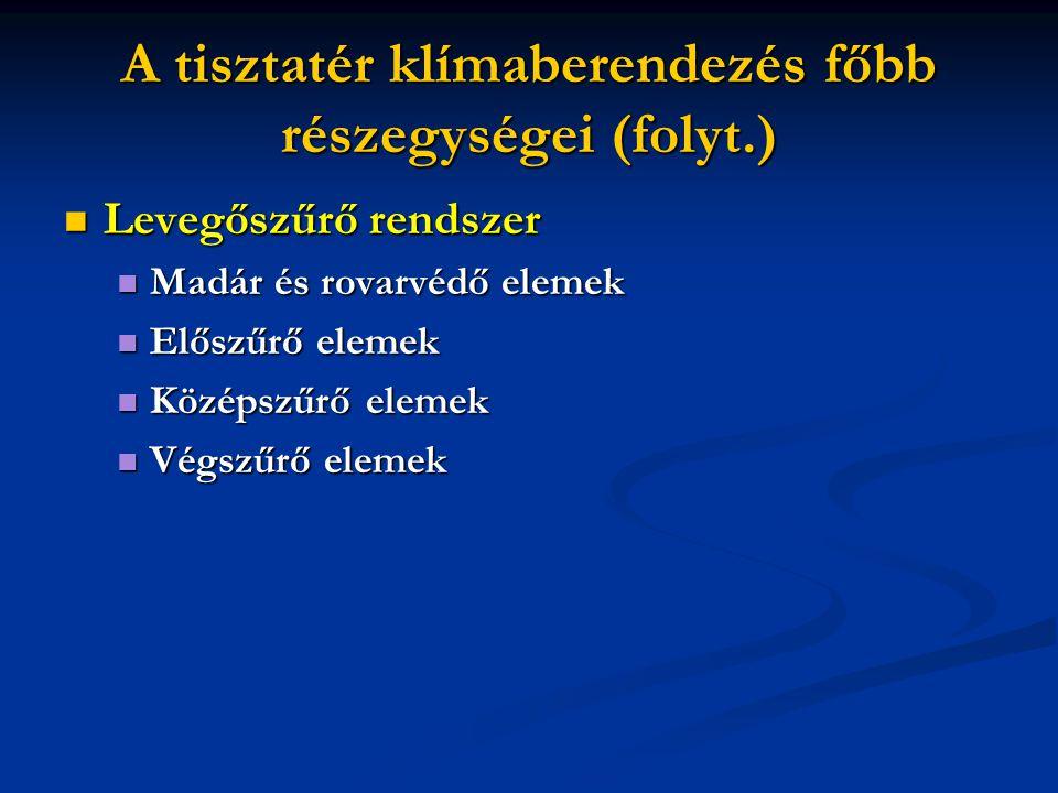 A tisztatér klímaberendezés főbb részegységei (folyt.)