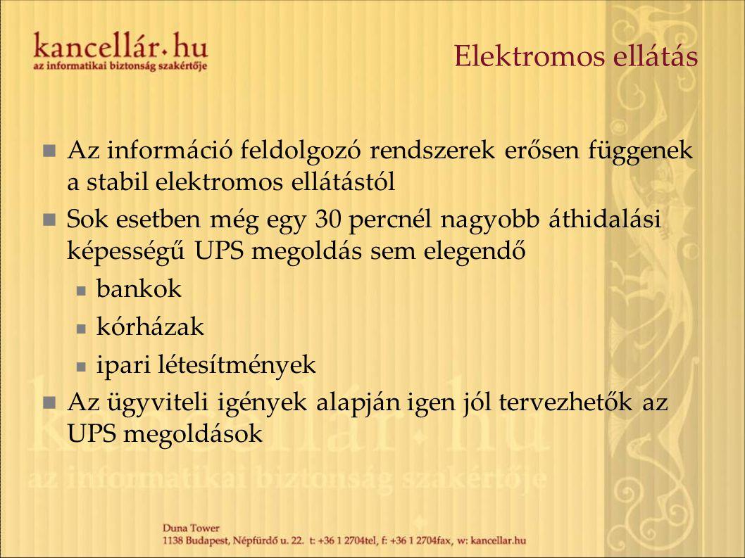 Elektromos ellátás Az információ feldolgozó rendszerek erősen függenek a stabil elektromos ellátástól.