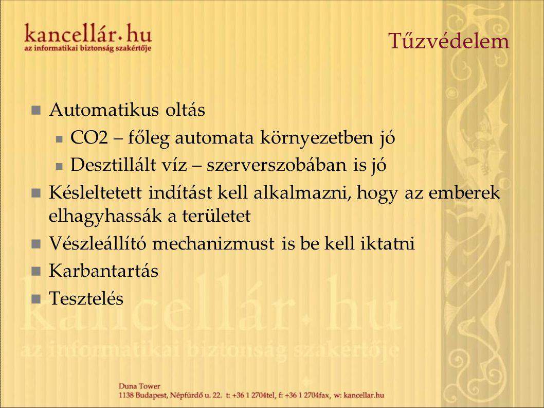 Tűzvédelem Automatikus oltás CO2 – főleg automata környezetben jó