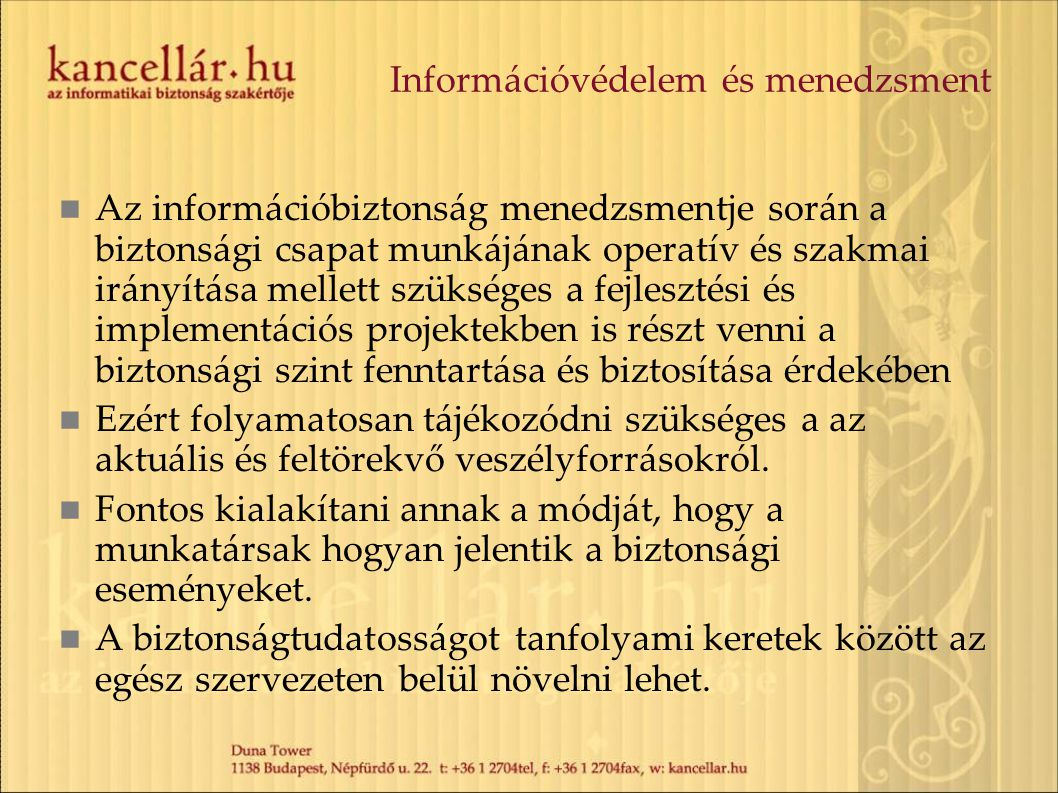 Információvédelem és menedzsment