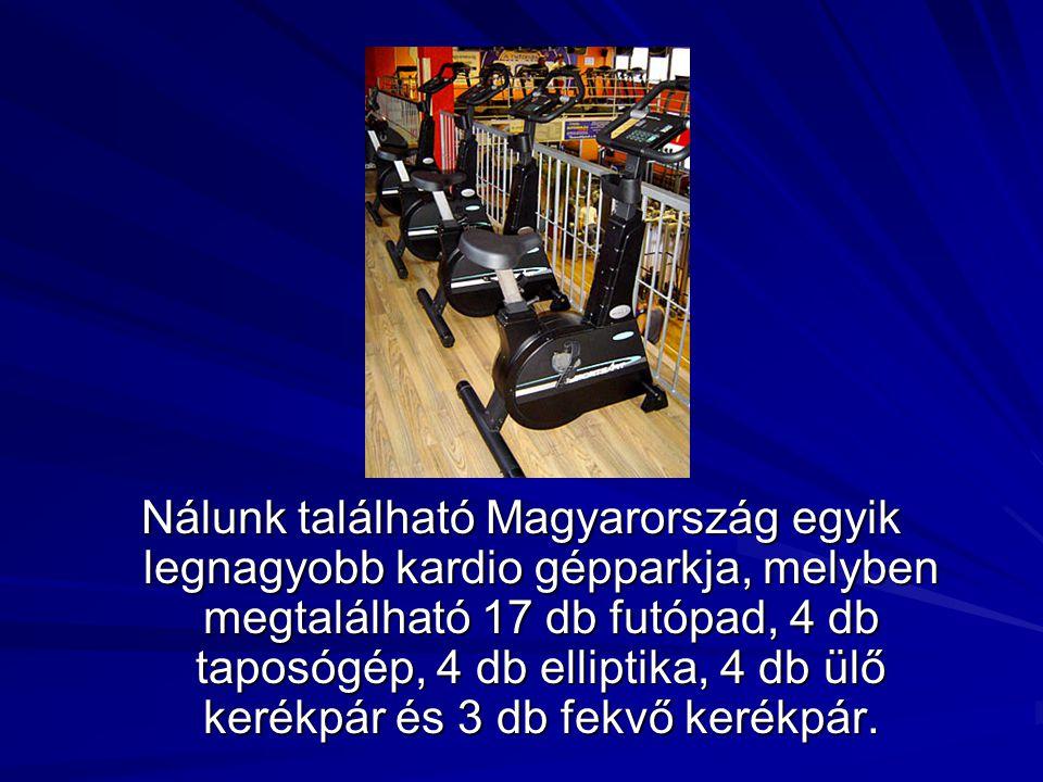 Nálunk található Magyarország egyik legnagyobb kardio gépparkja, melyben megtalálható 17 db futópad, 4 db taposógép, 4 db elliptika, 4 db ülő kerékpár és 3 db fekvő kerékpár.