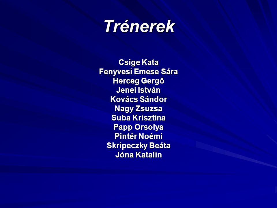 Trénerek Csige Kata Fenyvesi Emese Sára Herceg Gergő Jenei István