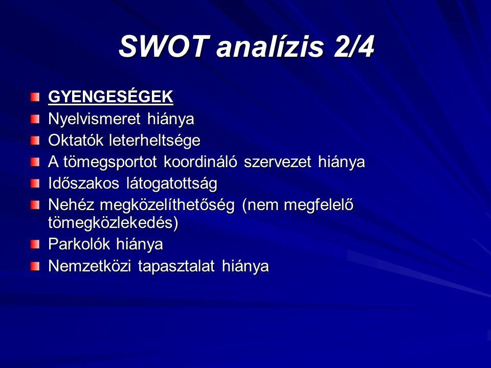 SWOT analízis 2/4 GYENGESÉGEK Nyelvismeret hiánya