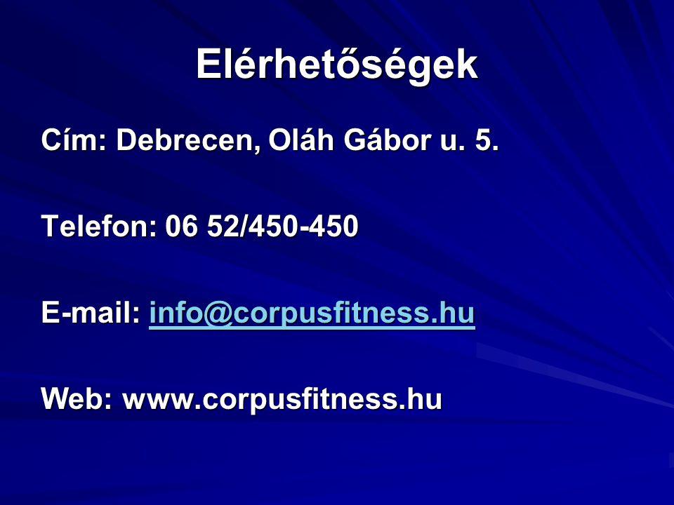 Elérhetőségek Cím: Debrecen, Oláh Gábor u. 5. Telefon: 06 52/450-450