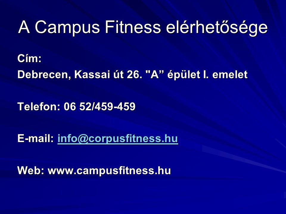 A Campus Fitness elérhetősége