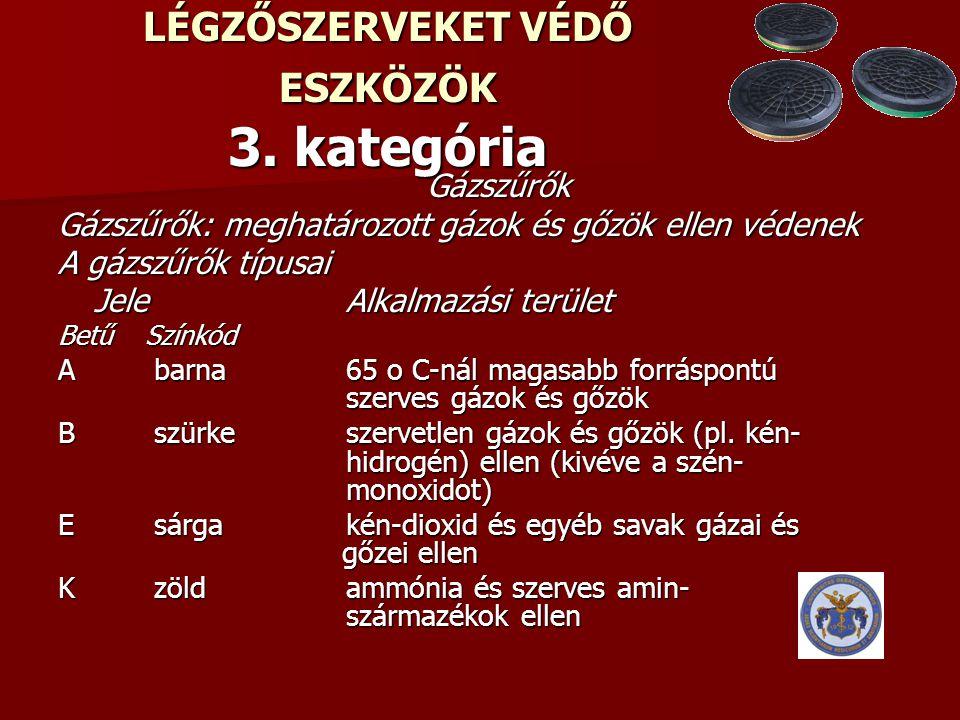 LÉGZŐSZERVEKET VÉDŐ ESZKÖZÖK 3. kategória