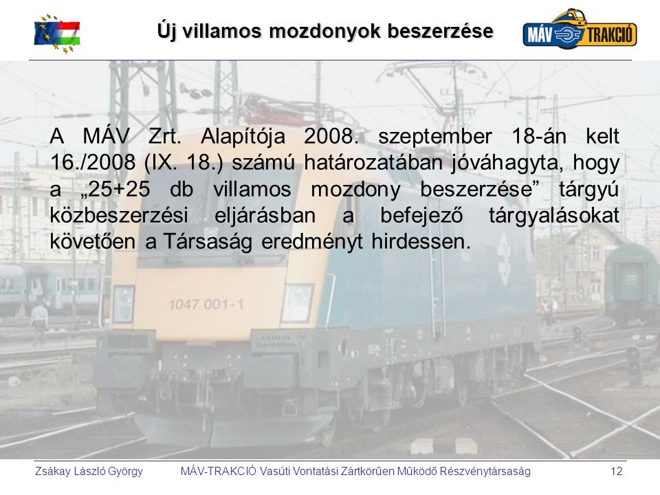 Új villamos mozdonyok beszerzése
