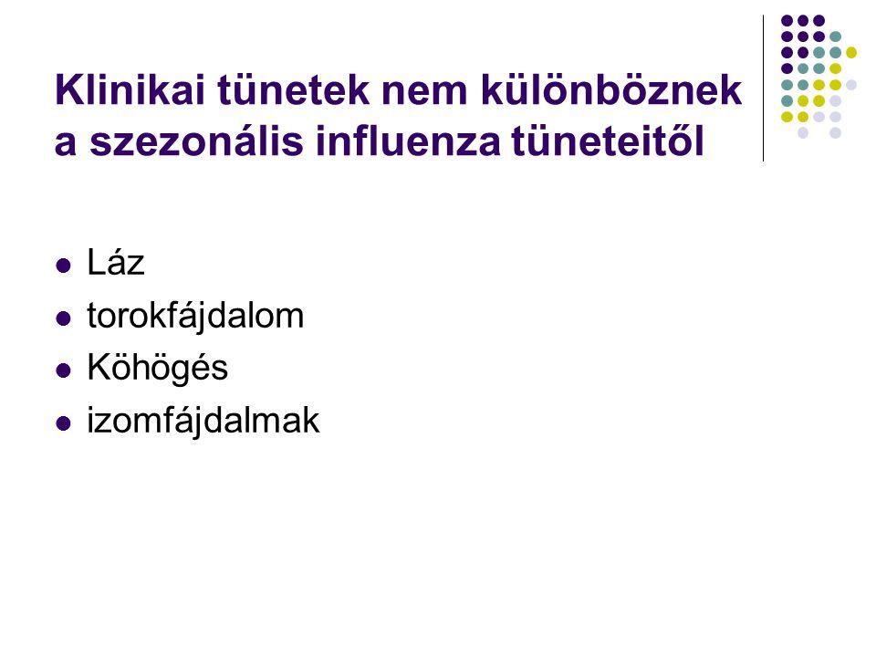Klinikai tünetek nem különböznek a szezonális influenza tüneteitől
