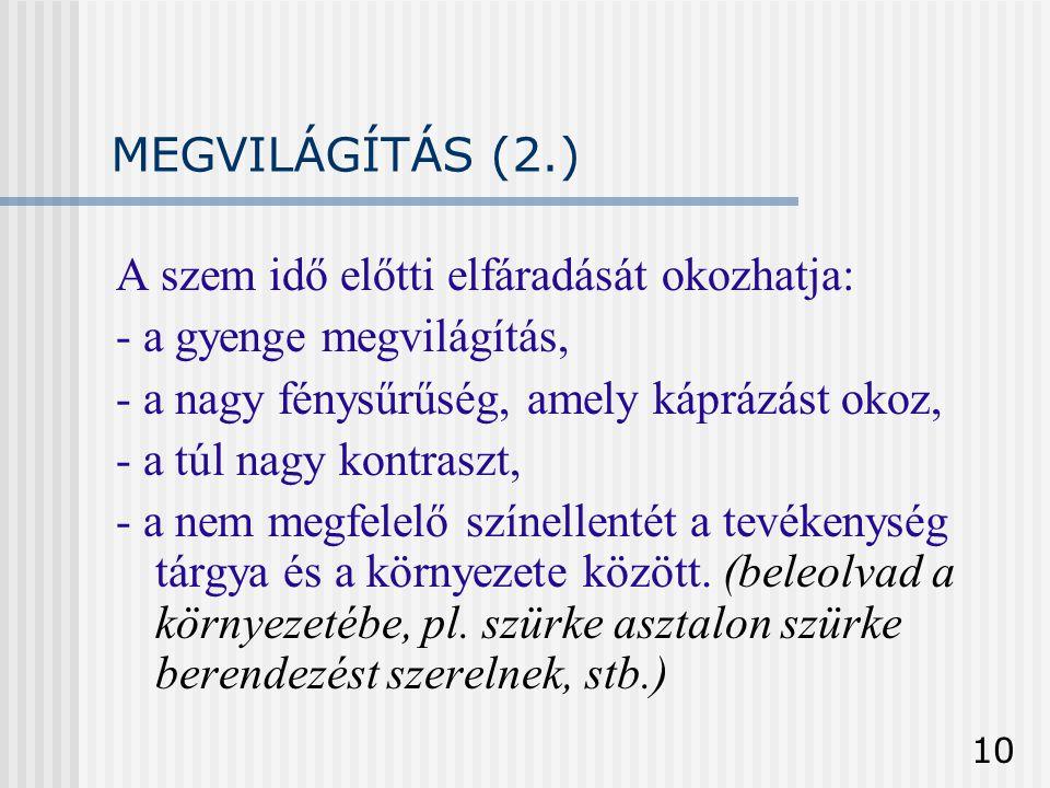MEGVILÁGÍTÁS (2.) A szem idő előtti elfáradását okozhatja: - a gyenge megvilágítás, - a nagy fénysűrűség, amely káprázást okoz,