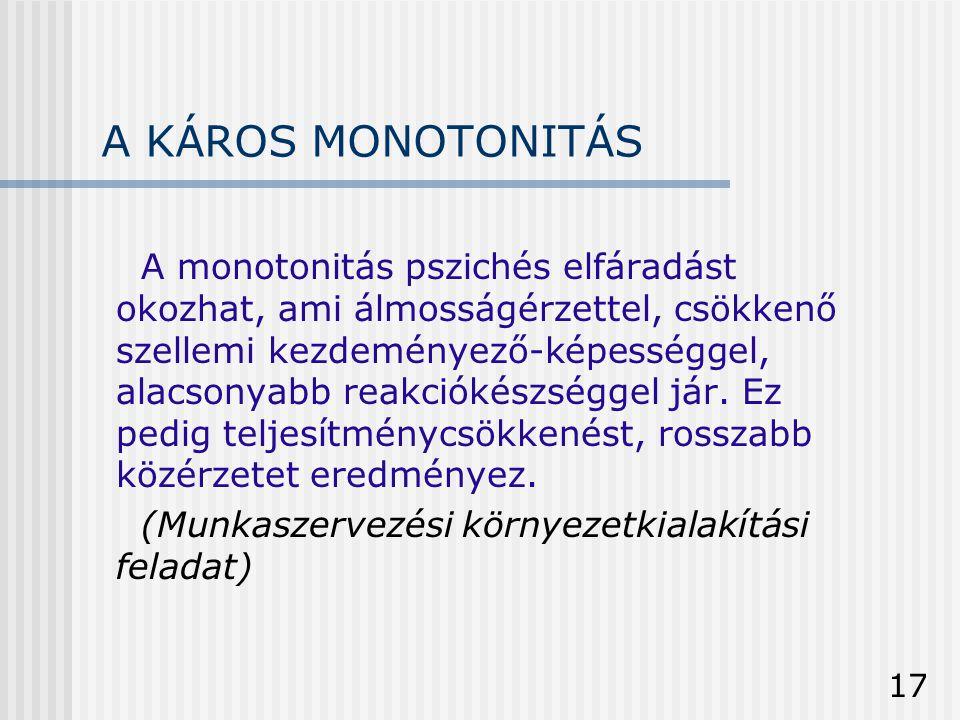 A KÁROS MONOTONITÁS
