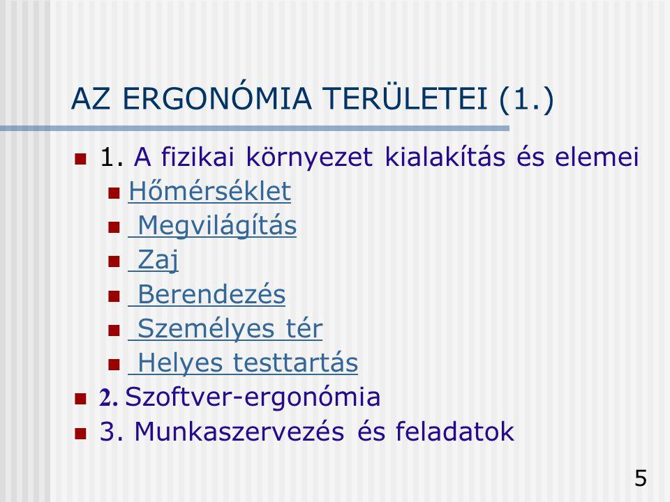 AZ ERGONÓMIA TERÜLETEI (1.)