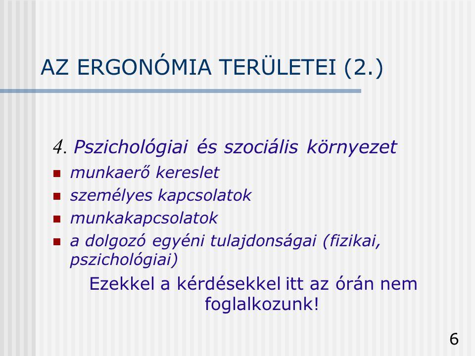 AZ ERGONÓMIA TERÜLETEI (2.)