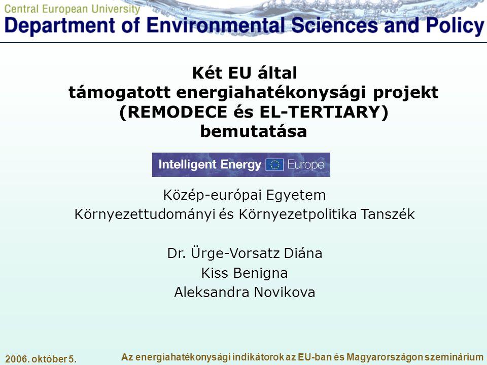 Két EU által támogatott energiahatékonysági projekt (REMODECE és EL-TERTIARY) bemutatása