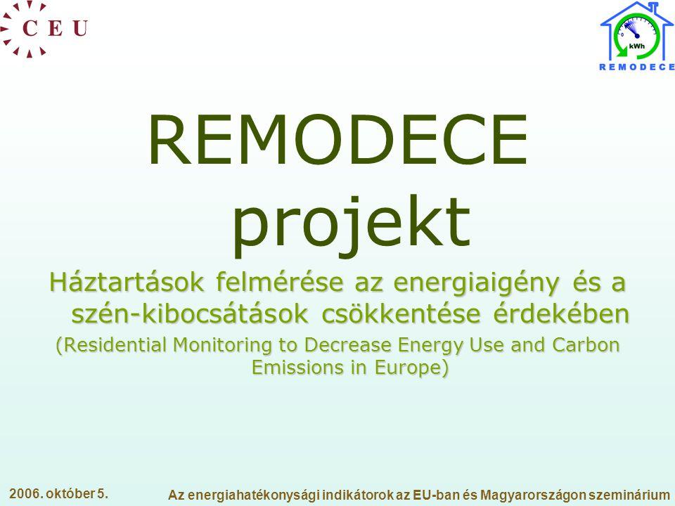 REMODECE projekt Háztartások felmérése az energiaigény és a szén-kibocsátások csökkentése érdekében.