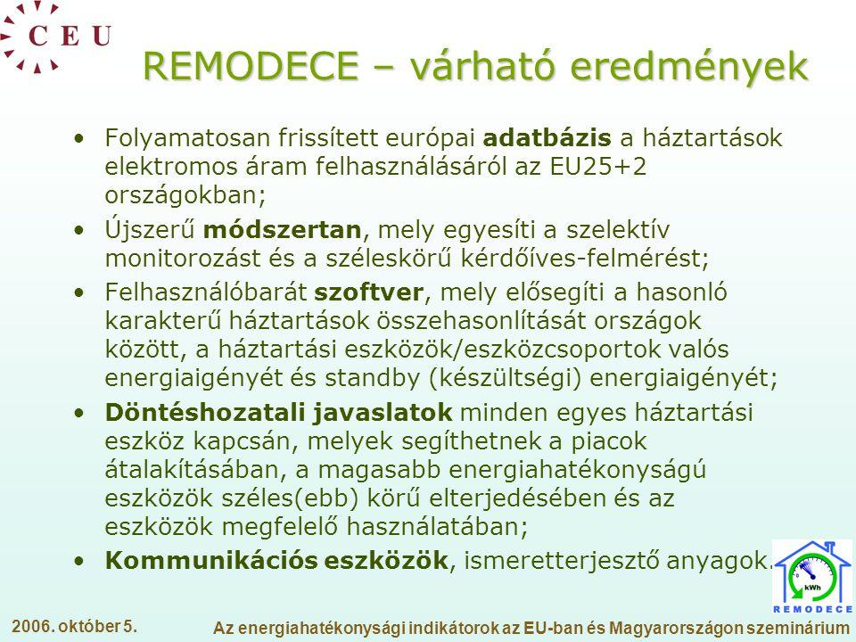 REMODECE – várható eredmények