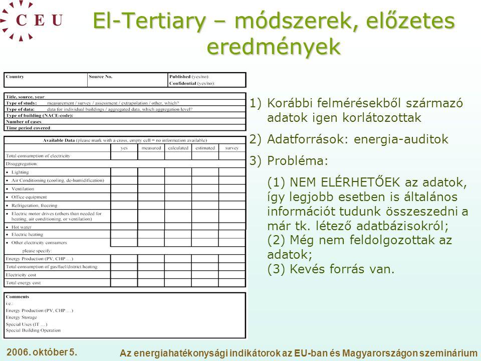 El-Tertiary – módszerek, előzetes eredmények
