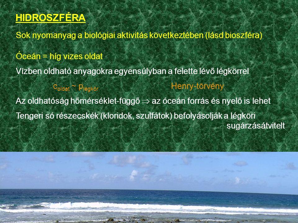 HIDROSZFÉRA Sok nyomanyag a biológiai aktivitás következtében (lásd bioszféra) Óceán = híg vizes oldat.