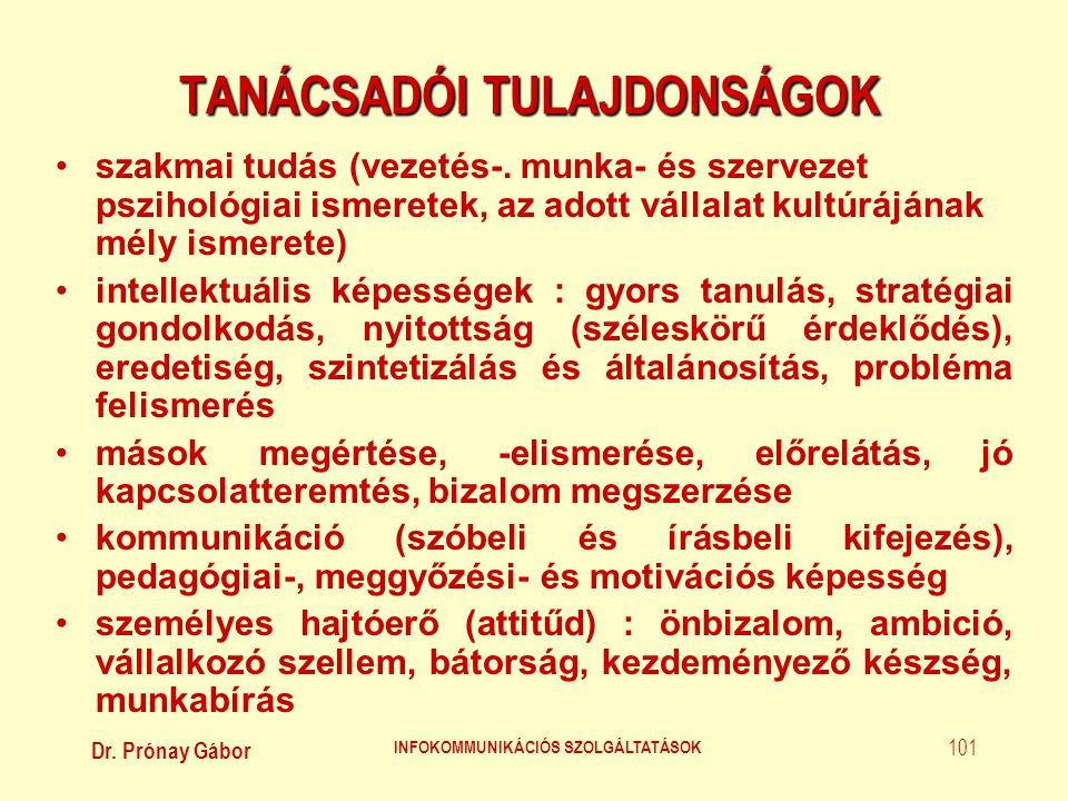 TANÁCSADÓI TULAJDONSÁGOK