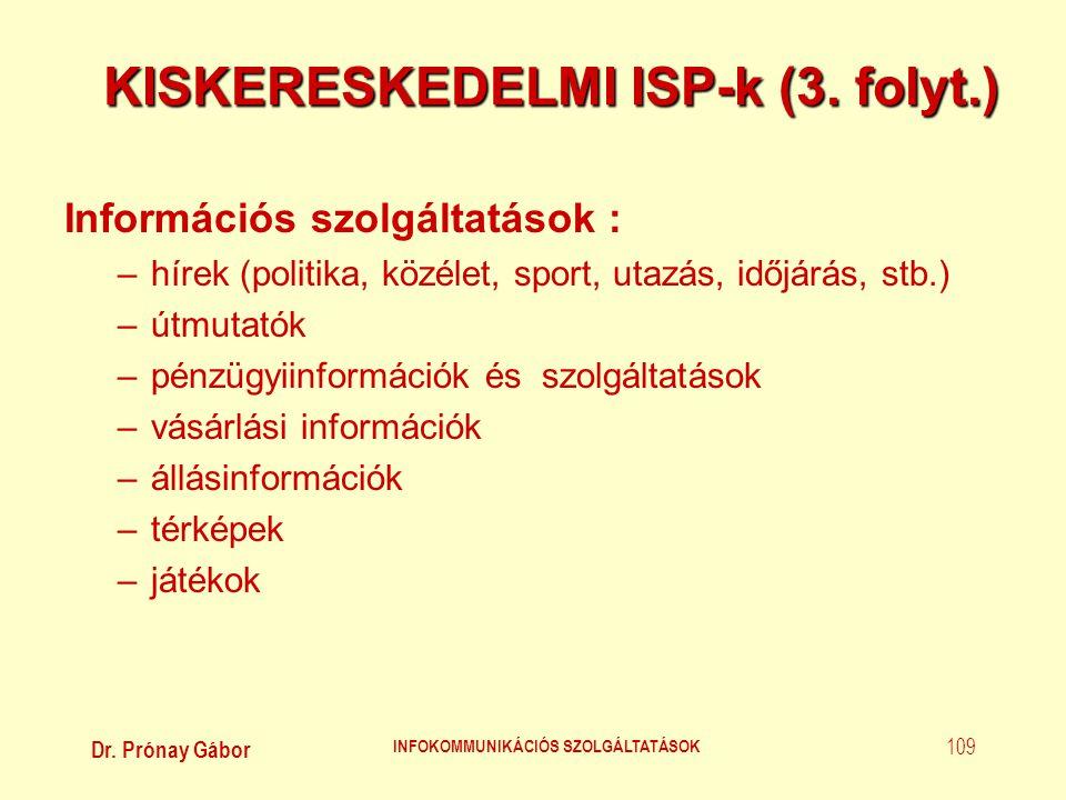 KISKERESKEDELMI ISP-k (3. folyt.)