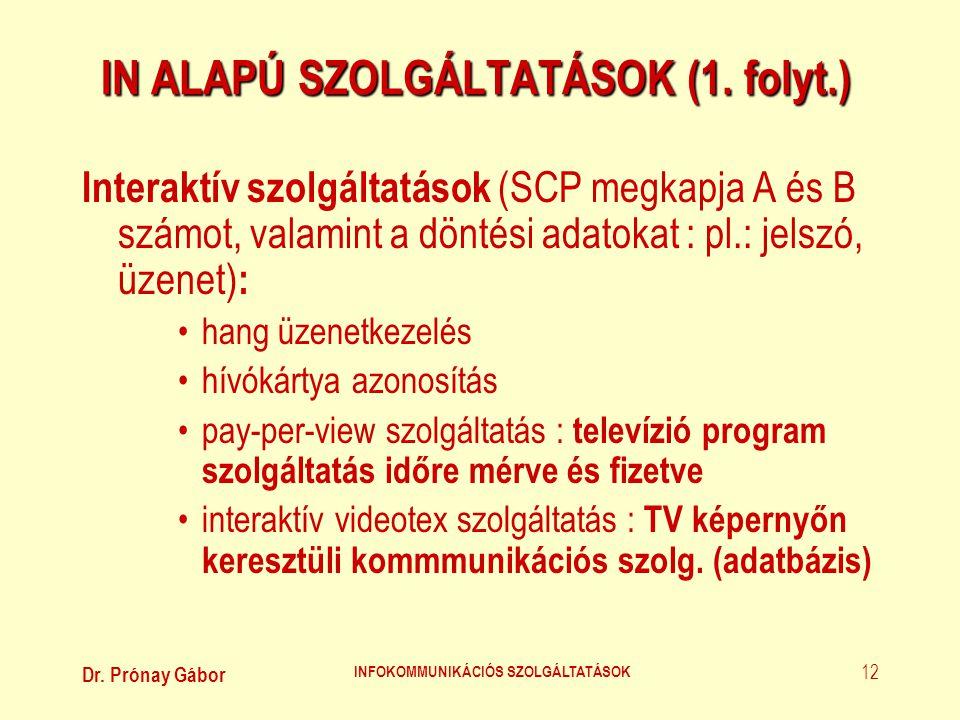 IN ALAPÚ SZOLGÁLTATÁSOK (1. folyt.)