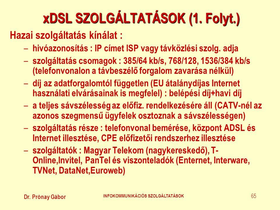 xDSL SZOLGÁLTATÁSOK (1. Folyt.)