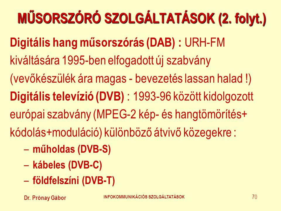 MŰSORSZÓRÓ SZOLGÁLTATÁSOK (2. folyt.)