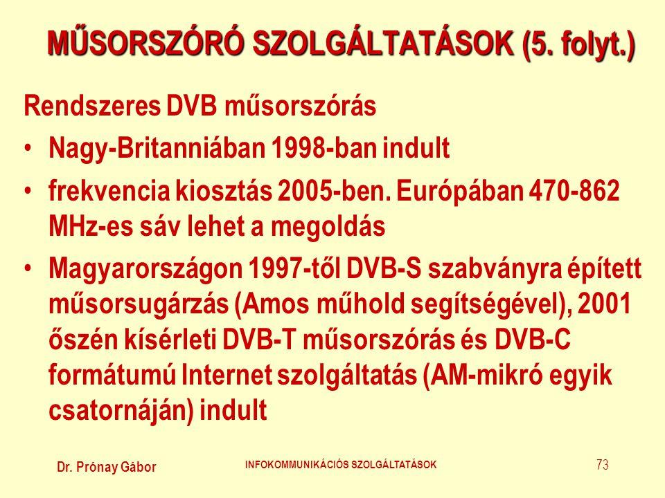 MŰSORSZÓRÓ SZOLGÁLTATÁSOK (5. folyt.)