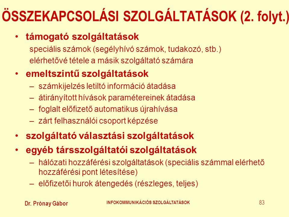 ÖSSZEKAPCSOLÁSI SZOLGÁLTATÁSOK (2. folyt.)