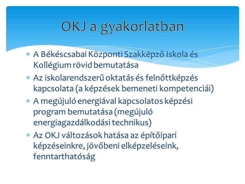 OKJ a gyakorlatban A Békéscsabai Központi Szakképző Iskola és Kollégium rövid bemutatása.