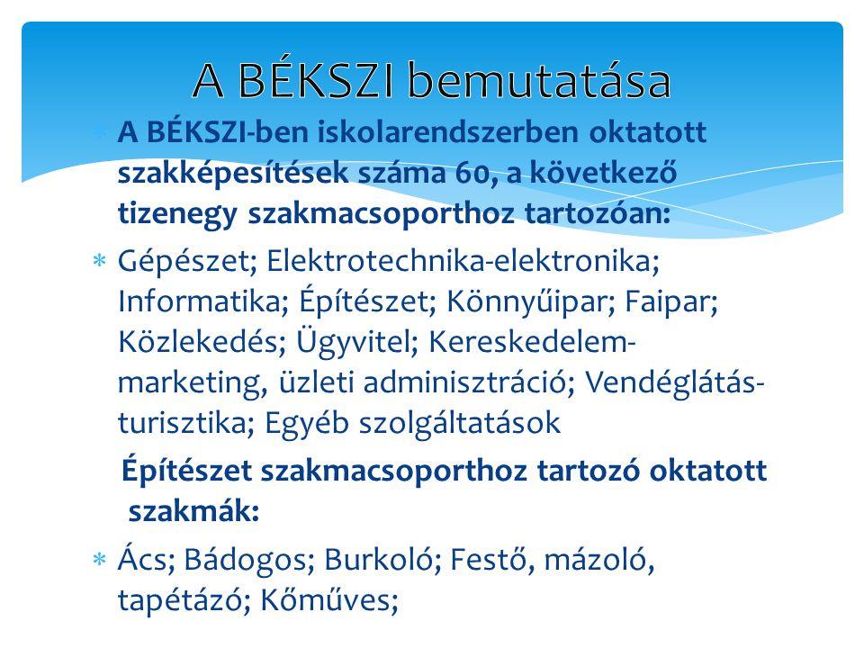 A BÉKSZI bemutatása A BÉKSZI-ben iskolarendszerben oktatott szakképesítések száma 60, a következő tizenegy szakmacsoporthoz tartozóan:
