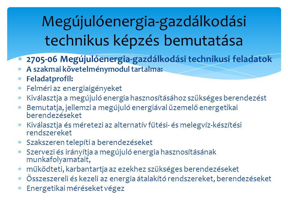 Megújulóenergia-gazdálkodási technikus képzés bemutatása