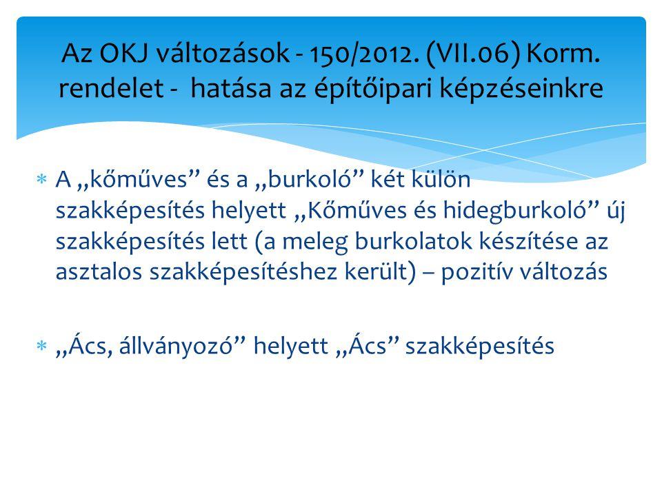 Az OKJ változások - 150/2012. (VII. 06) Korm
