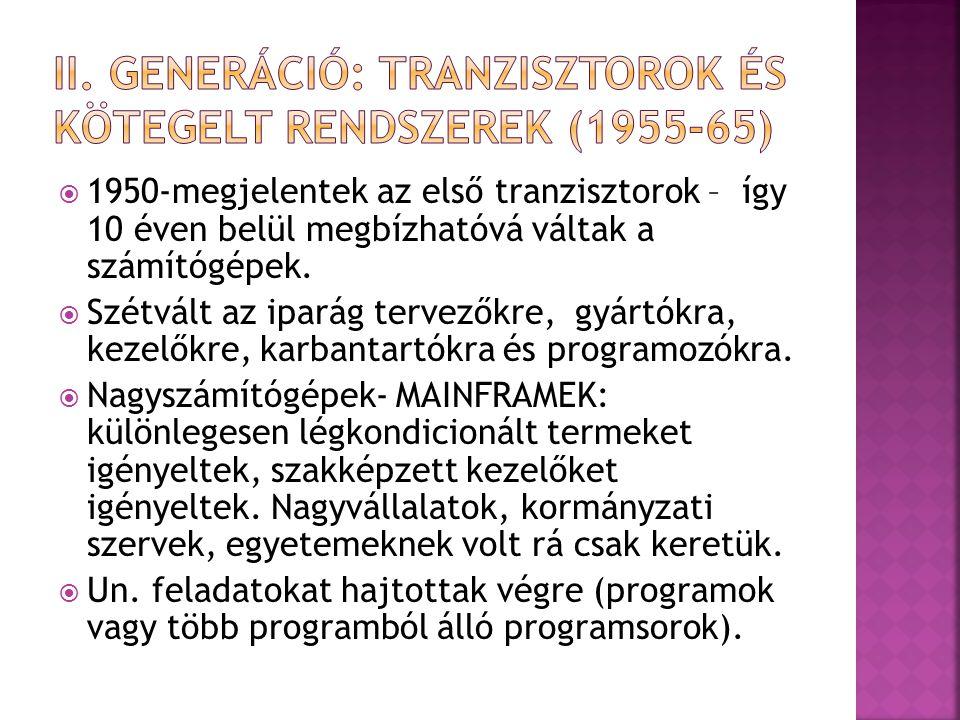 II. generáció: Tranzisztorok és kötegelt rendszerek (1955-65)