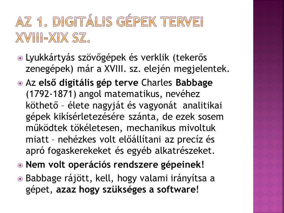 Az 1. digitális gépek tervei Xviii-XiX sz.
