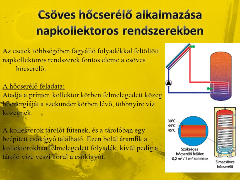 Csöves hőcserélő alkalmazása napkollektoros rendszerekben