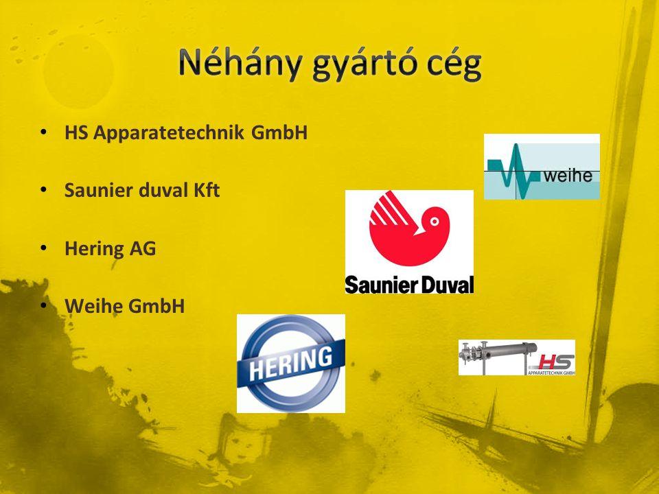 Néhány gyártó cég HS Apparatetechnik GmbH Saunier duval Kft Hering AG