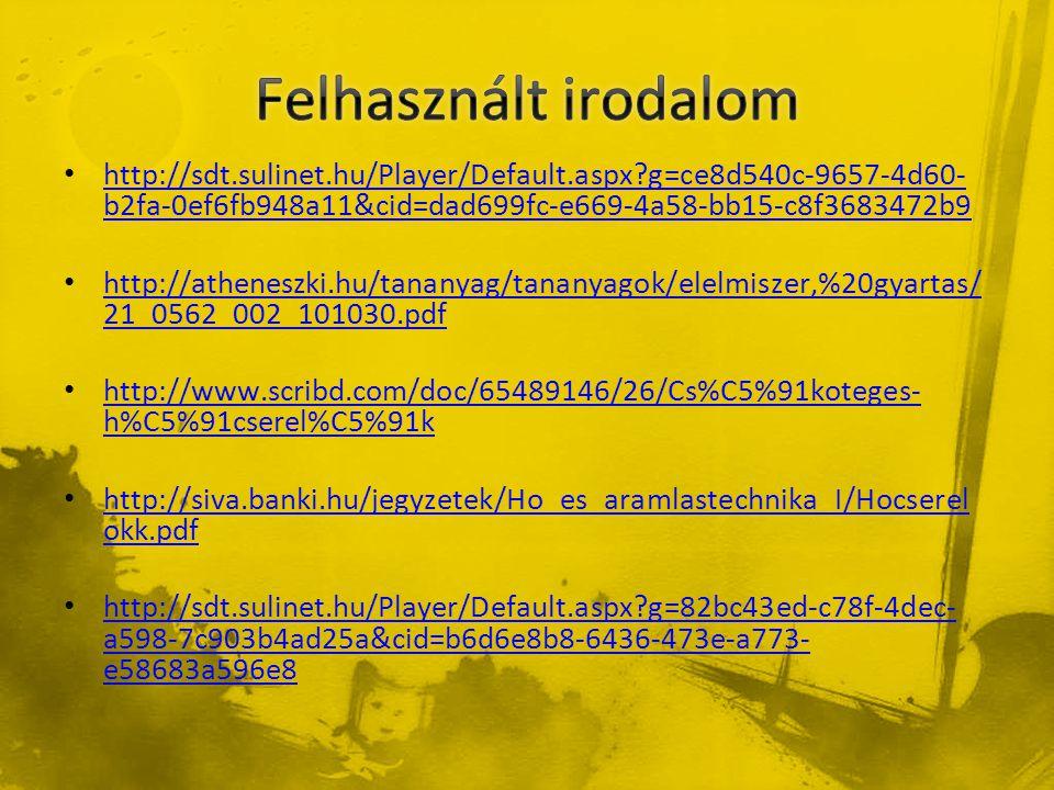 Felhasznált irodalom http://sdt.sulinet.hu/Player/Default.aspx g=ce8d540c-9657-4d60-b2fa-0ef6fb948a11&cid=dad699fc-e669-4a58-bb15-c8f3683472b9.