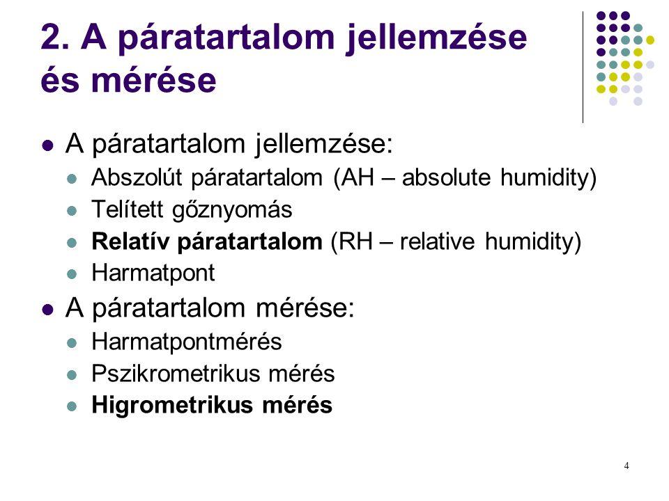 2. A páratartalom jellemzése és mérése